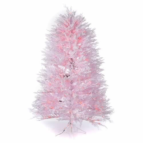 Albero di Natale innevato bianco 270 cm cm luci rosse led 700 s1