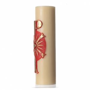 Candles, large candles: Altar candle with bas-relief, 8cm diameter Pax symbol