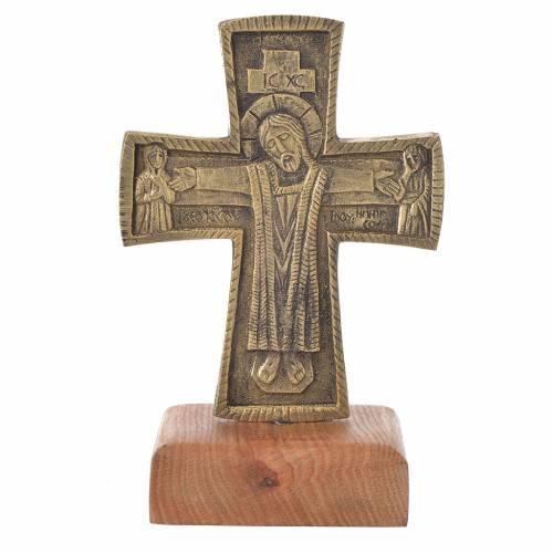 Altar crucifix Christ Priest and King Bethlehem monks 21x13cm s1