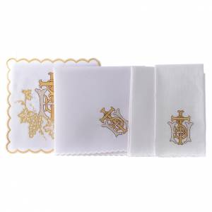 Altar linen grapes cross and golden embroidery, cotton s2