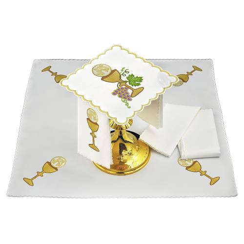 Altar linen grapes golden borders, chalice host and JHS s1