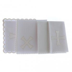 Altar linen white & silver cross embroided, cotton s2