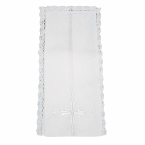 Altar linens, Purificator, linen and cotton, cross embroidery,2p s1