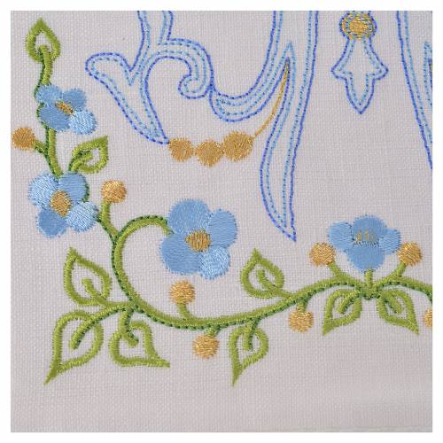 Altar linens set, 100% linen with Marian M s2