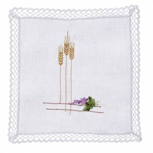 Altar linens: Altar linens with ears of wheat and grapes, 100% linen
