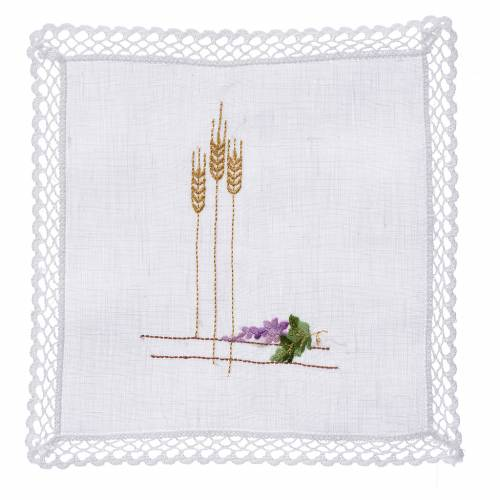 Altar linens with ears of wheat and grapes, 100% linen s1