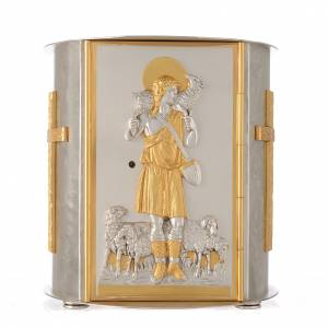 Altar tabernacle gold-plated brass, Good Shepherd s1