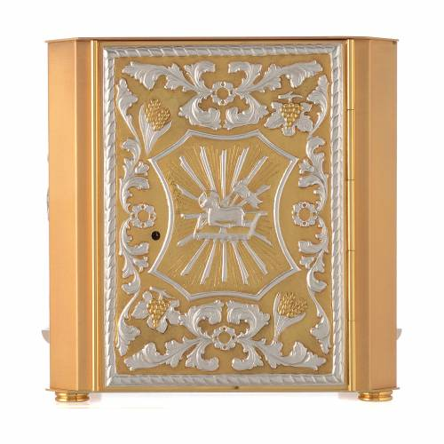 Altar tabernacle Lamb of God and Angel, bicolor brass s1