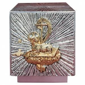 Altar tabernacle silver-plated brass, golden Agnus Dei s1