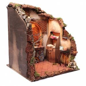 Belén napolitano: Ambientación belén napolitano 24 cm interior de casa 50 x 40 x 40 cm