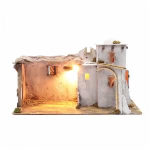 Belén napolitano: Ambientación cortijo moro con portal 35x60x25 cm pesebre Nápoles