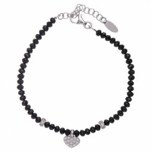 AMEN bracelets: AMEN 925 sterling silver bracelet finished in rhodium with a zirconate heart and crystals