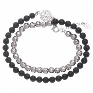 AMEN black onyx 925 sterling silver bracelet with insert s4