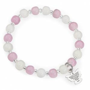 AMEN bracelets: Amen bracelet for children, Murano beads, white pink sterling si