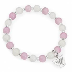 Amen bracelet for children, Murano beads, white pink sterling si s1