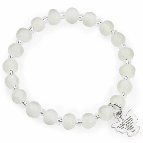 Amen bracelet for children, Murano beads, white sterling silver s1