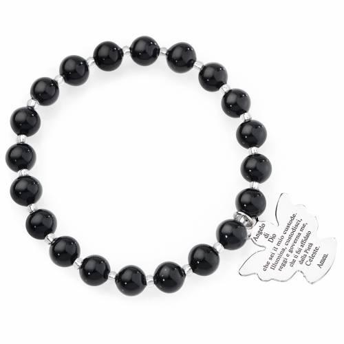 Amen bracelet in black Murano beads 8mm, sterling silver s1
