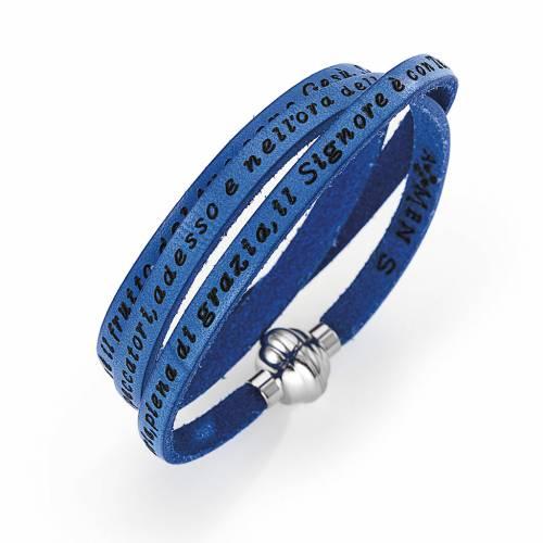 Amen Bracelet in blue leather Hail Mary ITA s1