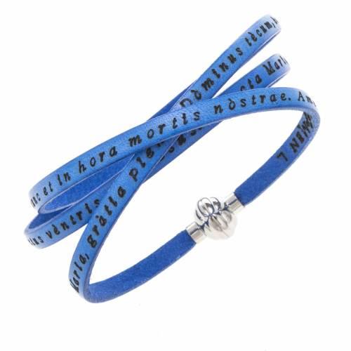 Amen Bracelet in blue leather Hail Mary LAT s1