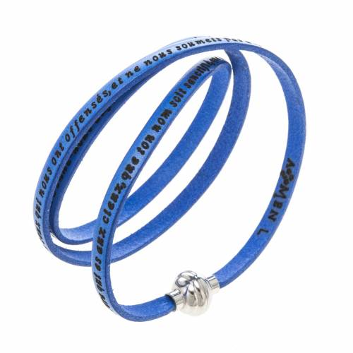 Amen Bracelet in blue leather Our Father FRA s1