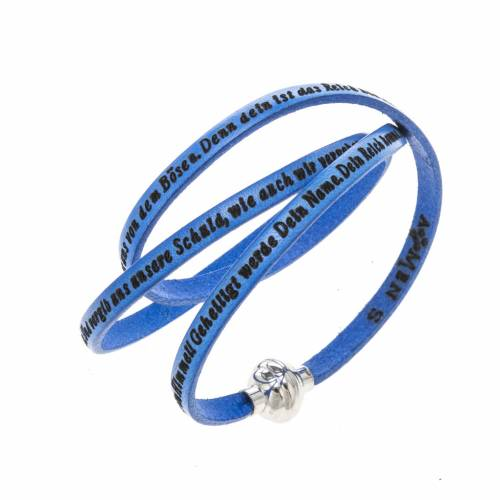 Amen Bracelet in blue leather Our Father GER s1