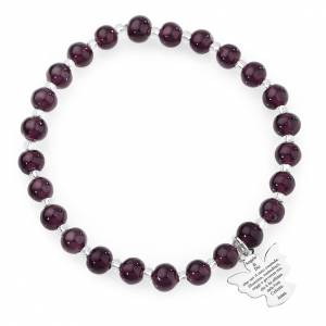 AMEN bracelets: Amen bracelet in dark purple Murano beads 6mm, sterling silver