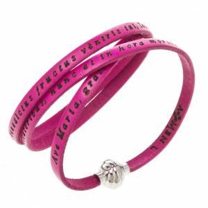 Amen Bracelet in fuchsia leather Hail Mary LAT s1