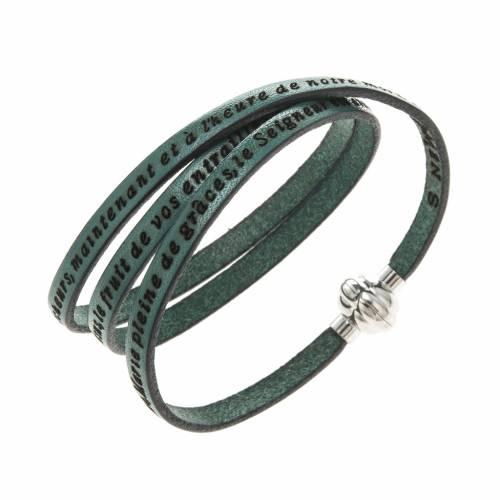 Amen Bracelet in green leather Hail Mary FRA s1