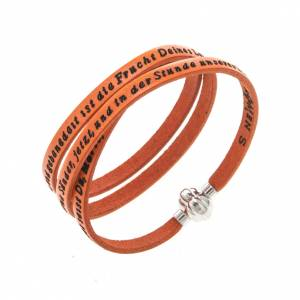 Amen Bracelet in orange leather Hail Mary GER s1