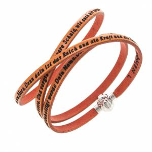 Amen Bracelet in orange leather Our Father GER s1