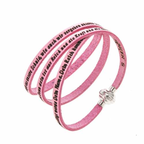 Amen Bracelet in pink leather Our Father GER s1