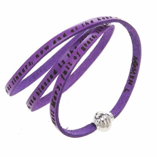 Amen Bracelet in purple leather Hail Mary ENG s1