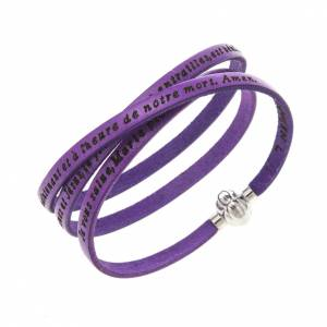Amen Bracelet in purple leather Hail Mary FRA s1