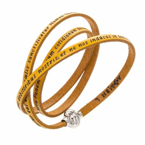 Amen Bracelet in yellow leather Our Father LAT s1