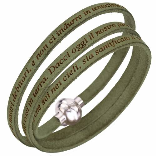 Amen bracelet with Our Father in Italian, sage green s1