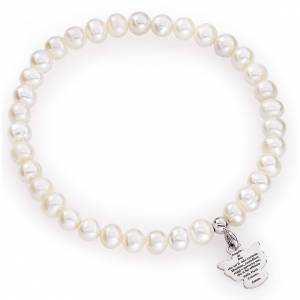 AMEN bracelets: Amen bracelet with round pearls and sterling silver, 5/6mm