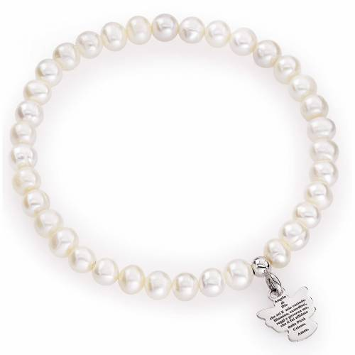 Amen bracelet with round pearls and sterling silver, 5/6mm s1