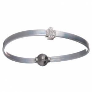 AMEN bracelets: AMEN grey thermoplastic bracelet with a 925 sterling silver zirconate angel insert
