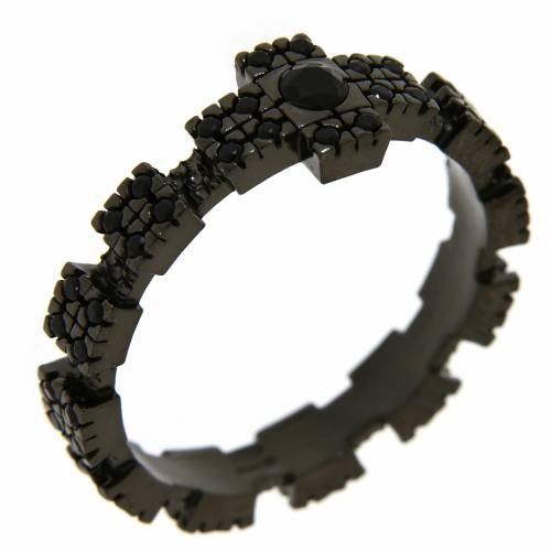 Anello argento 925 nero con zirconi neri 1