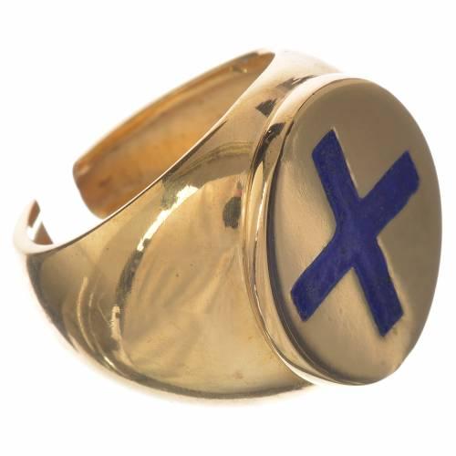 Anello episcopale argento 925 dorato croce smalto blu s2