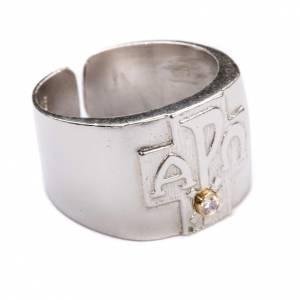 Articoli vescovili: Anello per vescovi argento 800 XP alfa omega zircone