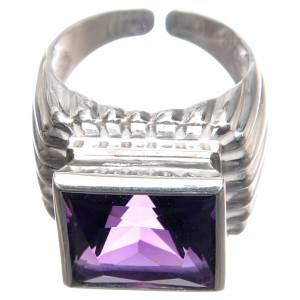 Articoli vescovili: Anello vescovile argento 800 giada color ametista