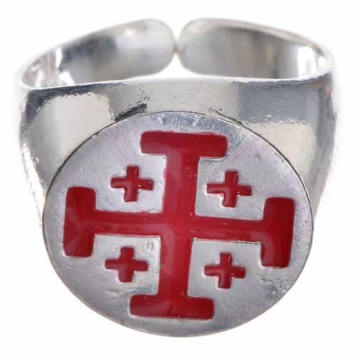 Anello vescovo argento 800 croce Jerusalem smalto rosso s1