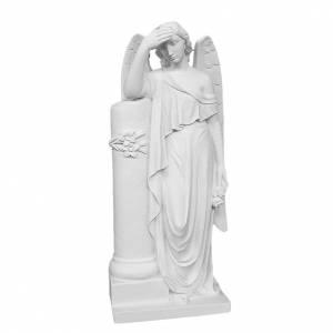 Ange avec colonne statue marbre blanc s1