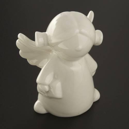 Angels in white ceramic, 4 pieces 11cm s6