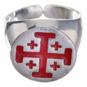 Artículos Obispales: Anillo episcopal de plata 800, cruz de Jerusalén, esmalte rojo