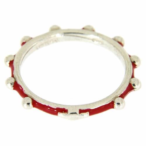 Anillo rosario MATER esmalte rojo plata 925 s2