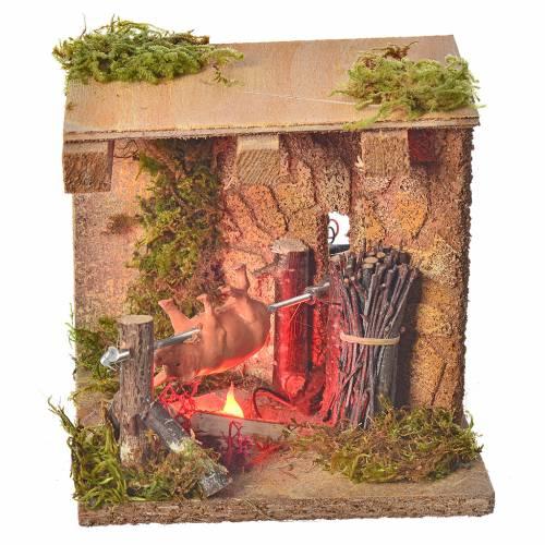 Animated nativity figurine, roasting-jack 10cm s1