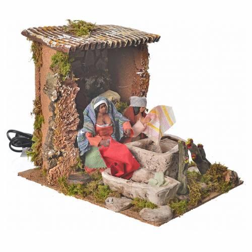 Animated nativity figurine, washerwoman 12cm with 2 movements s3