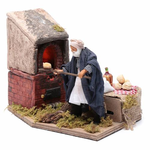 Animated nativity scene figurine, baker 12 cm s1